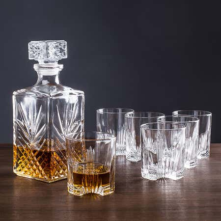 86119_Bormioli_Rocco_Selecta_Whiskey_Decanter_Combo___Set_of_7__Clear
