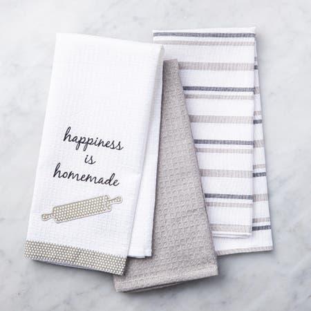 86684_Harman_Sassy_'Happiness_Is_Homemade'_Cotton_Kitchen_Towel___Set_of_3__Grey