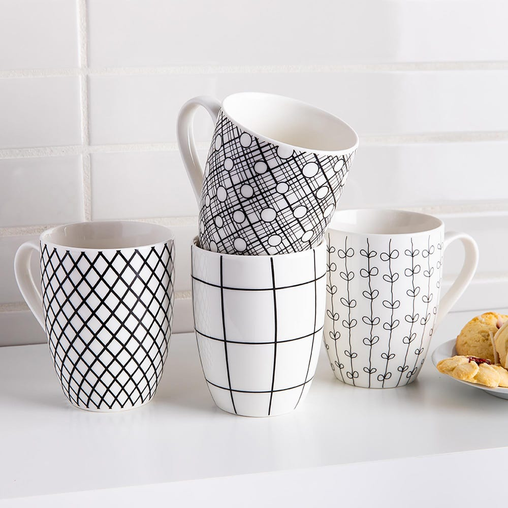 86845_KSP_Graphic_'Plaid'_New_Bone_China_Mug___Set_of_4__Black_White