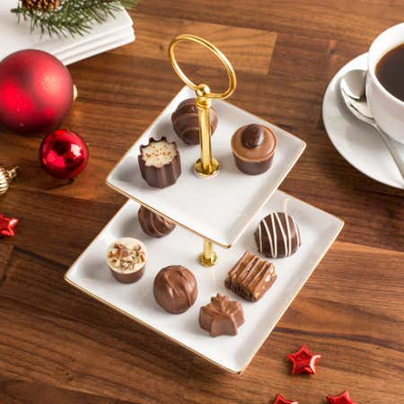 87460_KSP_Christmas_Gleam_'2_Tier'_Porcelain_Buffet_Plate_Square__Gold