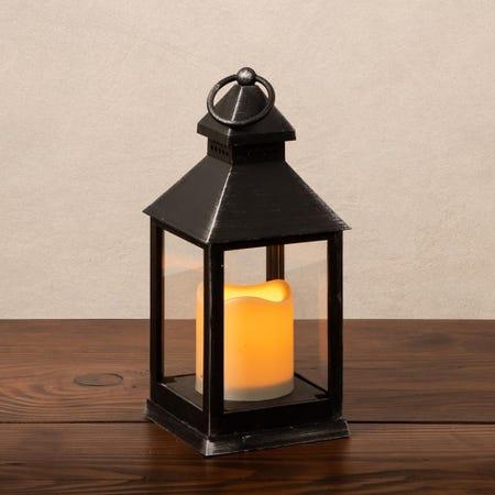 88699_KSP_Flicker_'Metal_Look'_Small_LED_Plastic_Lantern__Black