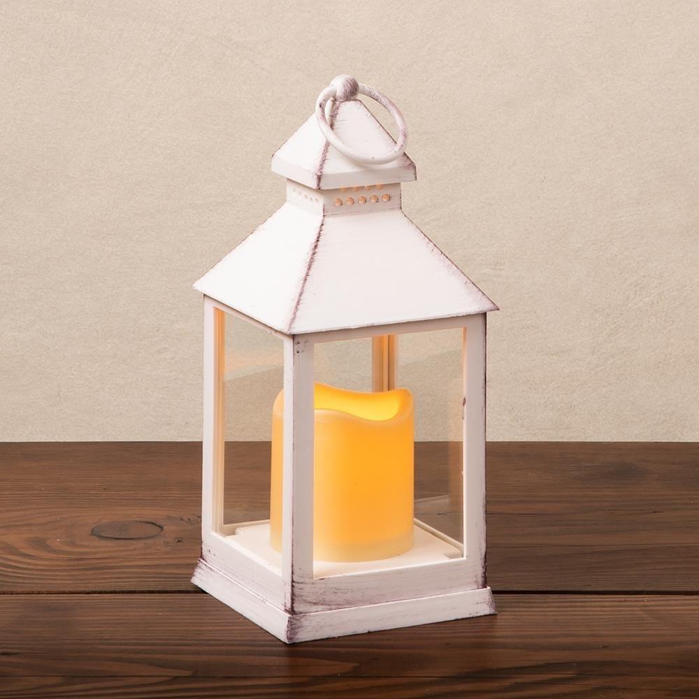 88700_KSP_Flicker_'Metal_Look'_Small_LED_Plastic_Lantern__White