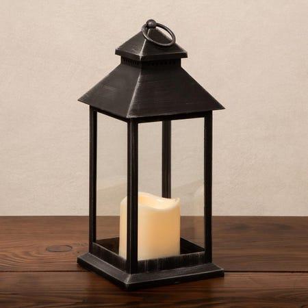 88701_KSP_Flicker_'Metal_Look'_Medium_LED_Plastic_Lantern__Black