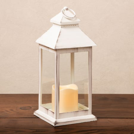 Led Lantern Metal Med White