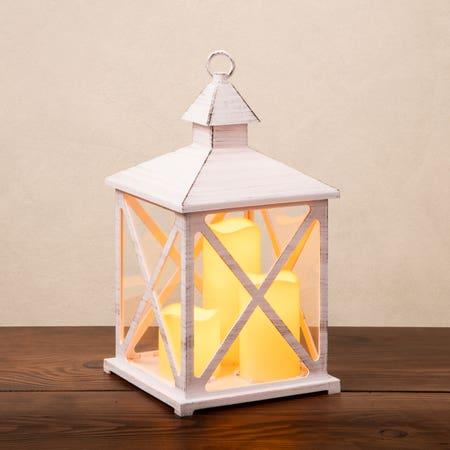 Led Lantern Metal Lrg White