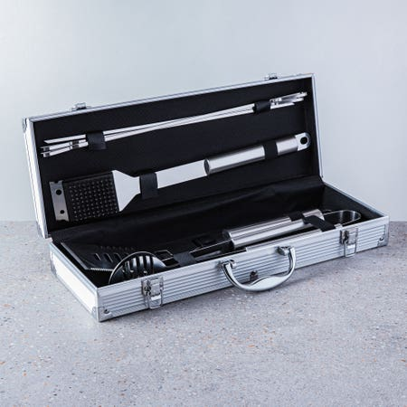 88736_KSP_Gourmet_Bbq_Tools_In_Aluminum_Case___Set_of_7__Stainless_Steel