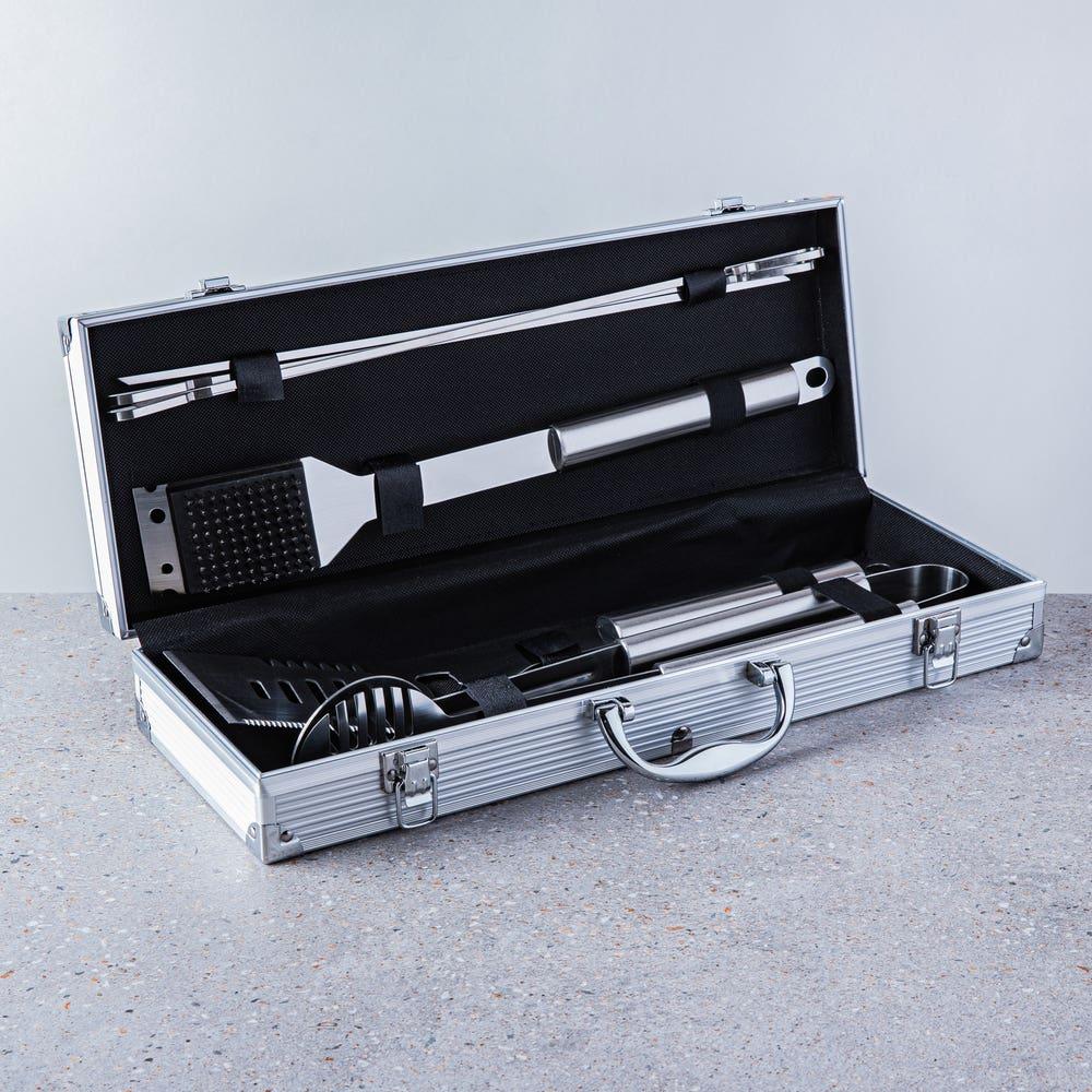 KSP Gourmet Bbq Tools In Aluminum Case - Set of 7 (Stainless Steel)
