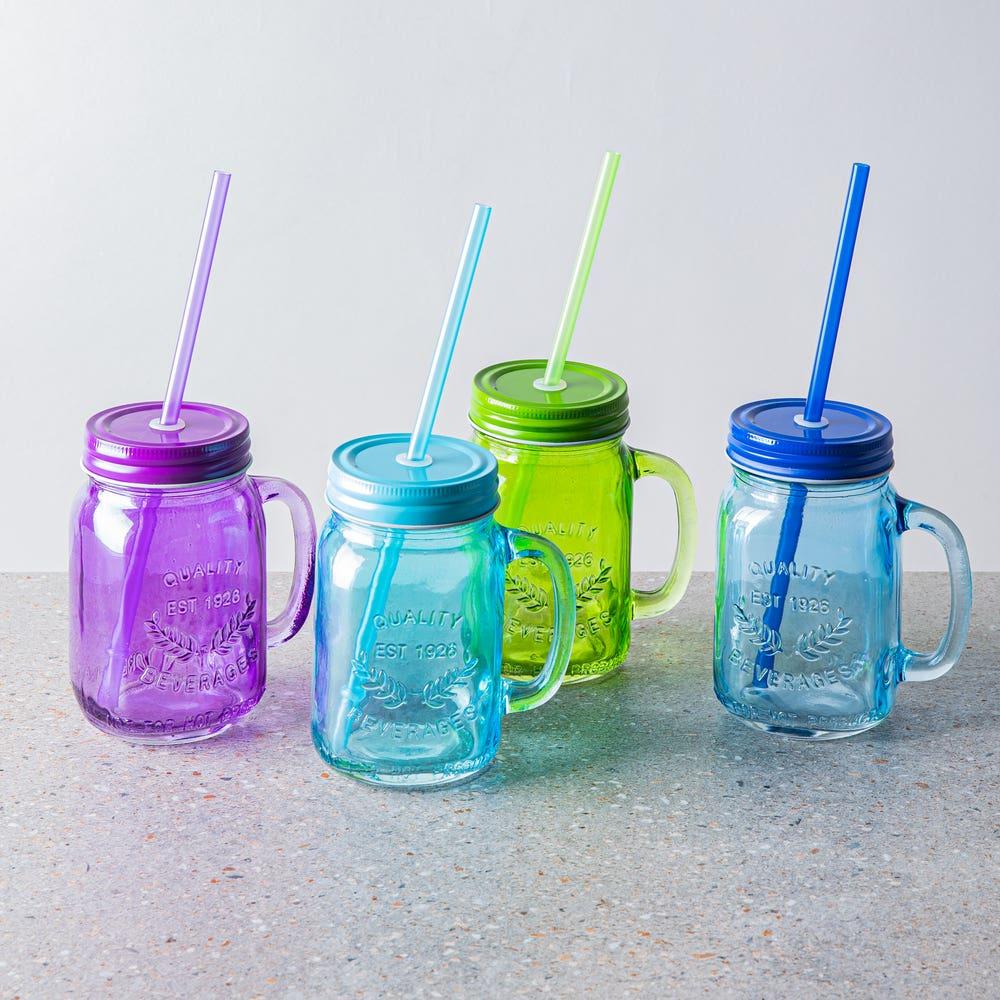 KSP Sip Glass Mason Drinking Jar - Set of 4 (Multi Colour)