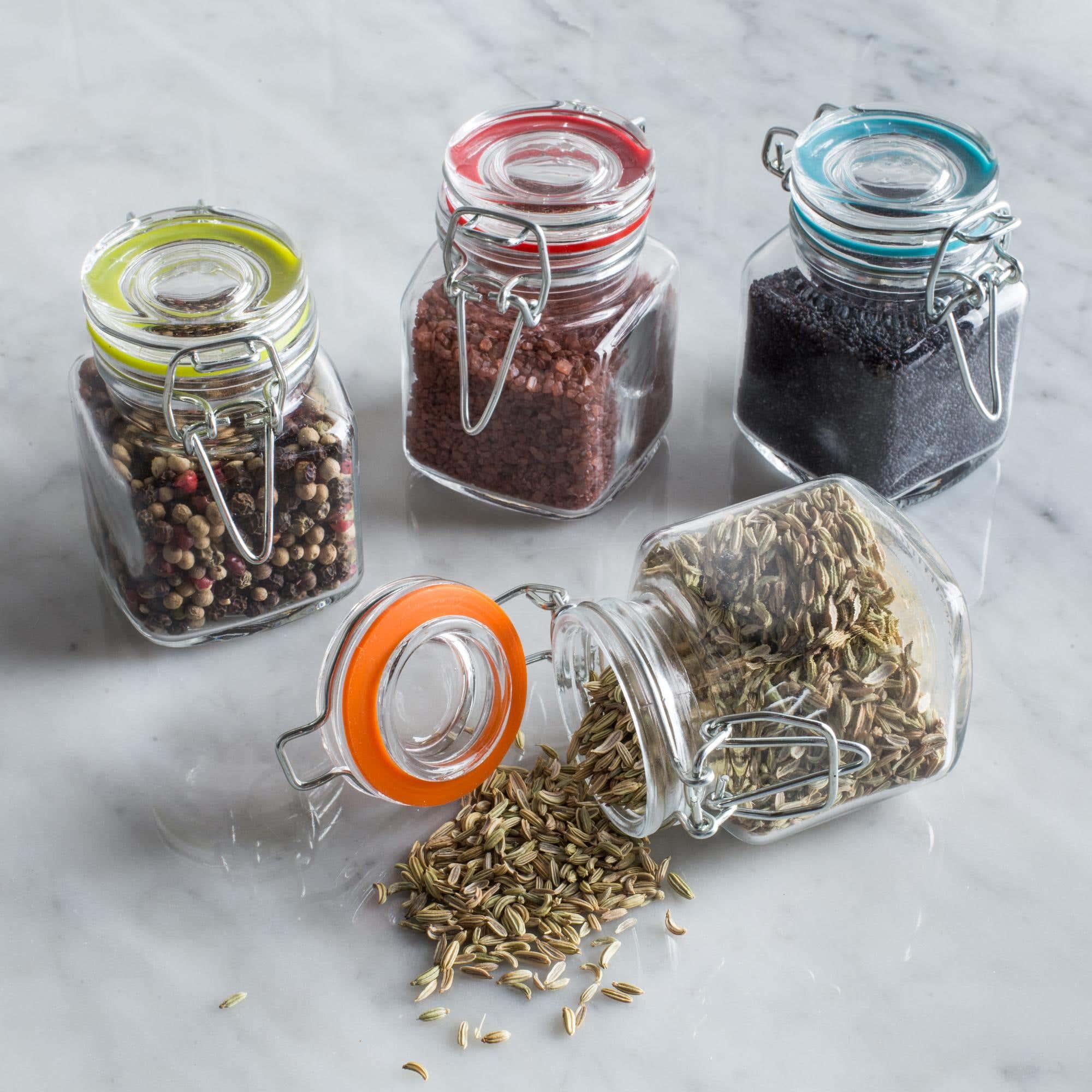ksp colour splash glass spice jars set of 4 multi colour
