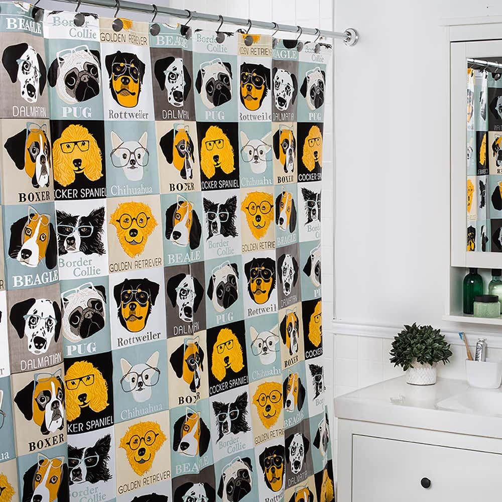 89172_Splash_Peva_'Dogs___Glasses'_Shower_Curtain__Multi_Colour