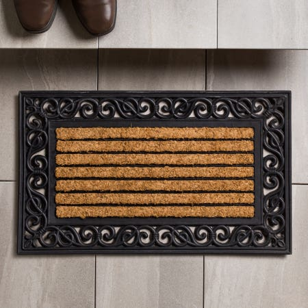 89225_KSP_Casual_'Scroll_Border'_Recycled_Rubber_Doormat__Black_Natural