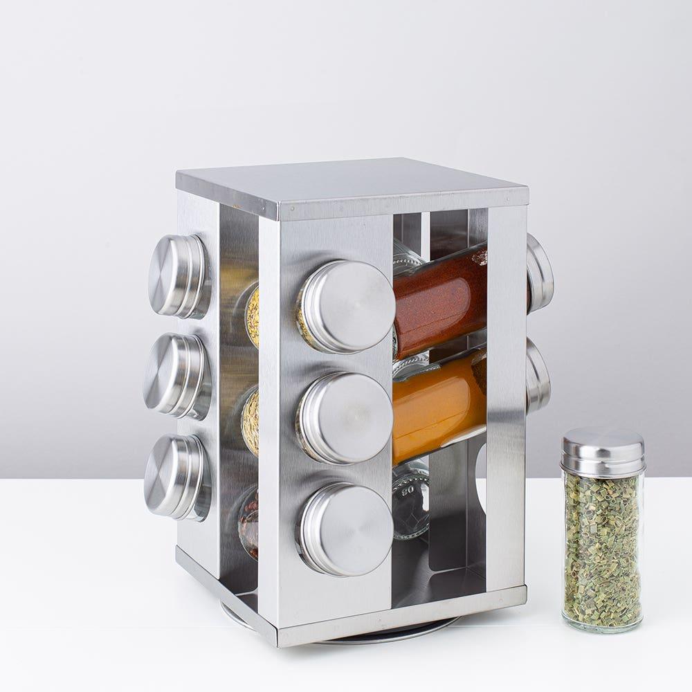 KSP Spin '12-Bottle' Spice Rack (Stainless Steel)