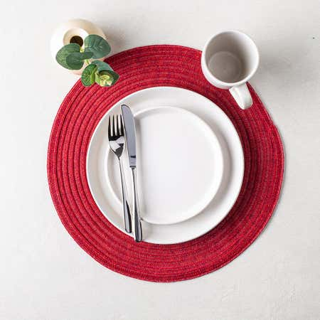 89429_Harman_Urban_Two_Tone_Woven_Round_'Urban_2_Tone'_Vinyl_Placemat__Red