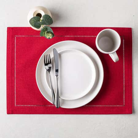 89491_Harman_Hemstitch_Polyester_Placemat__Red