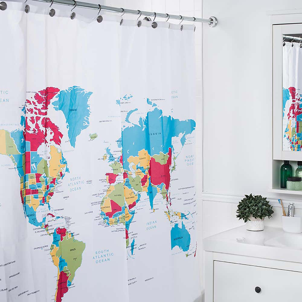 89794_Moda_At_Home_Polyester_'Global'_Shower_Curtain__Multi_Colour