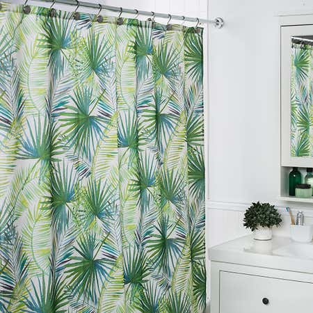 89805_Moda_At_Home_Polyester_'Palm_Tree'_Shower_Curtain__Green_White