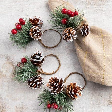 91020_KSP_Christmas_Decor_'Pine_Cone'_Napkin_Ring___Set_of_4__Green