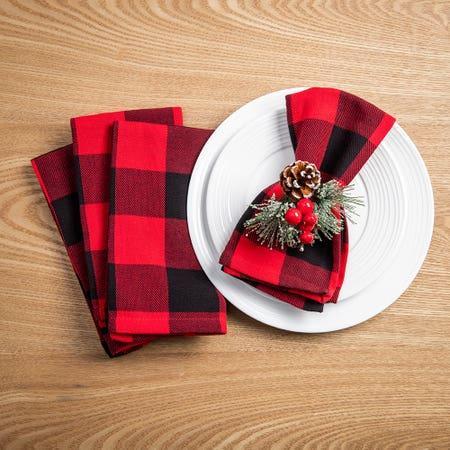 91066_Harman_Christmas_Cotton_'Buffalo_Check'_Napkin___Set_of_4