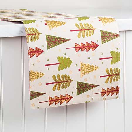 91080_Harman_Xmas_Cotton_Red_'Festive_Tree'_Cotton_Table_Runner