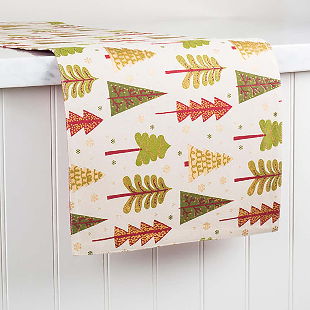 91080_Harman_Xmas_Cotton_Red_'Festive_Tree'_Cotton_Table_Runner