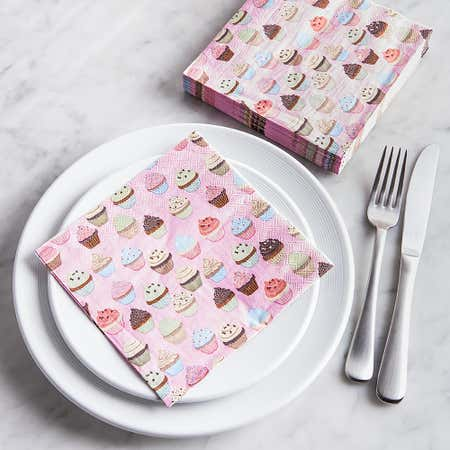 91517_Harman_3_Ply_'Cupcake'_Paper_Napkin__Pink