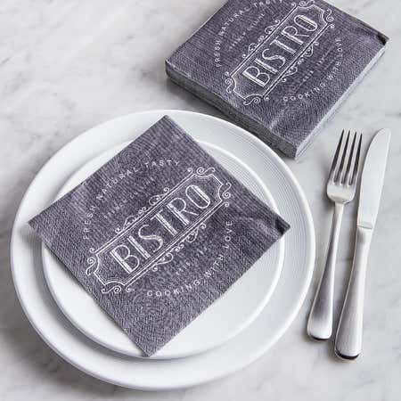91518_Harman_3_Ply_'French_Cuisine_Bistro'_Paper_Napkin__Black