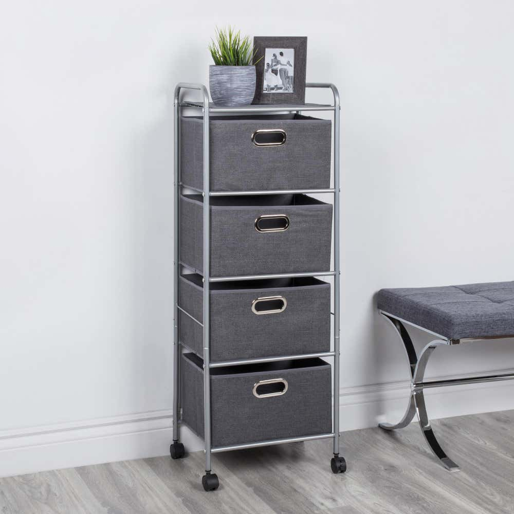 91636_KSP_Rollstor_'4_Drawer'_Fabric_Storage_Cart_with_Wheels__Grey