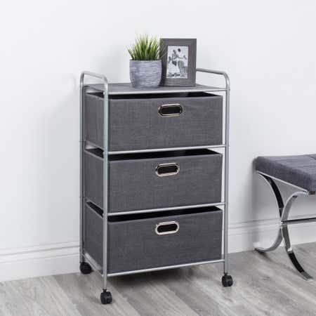 91637_KSP_Rollstor_'3_Drawer'_Fabric_Storage_Cart_with_Wheels__Grey