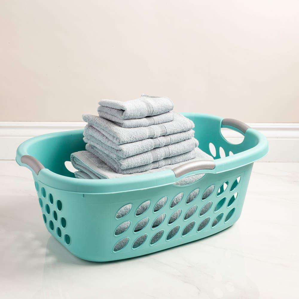 Sterilite Bushel Ultra Plastic Laundry Basket Hip (Blue)
