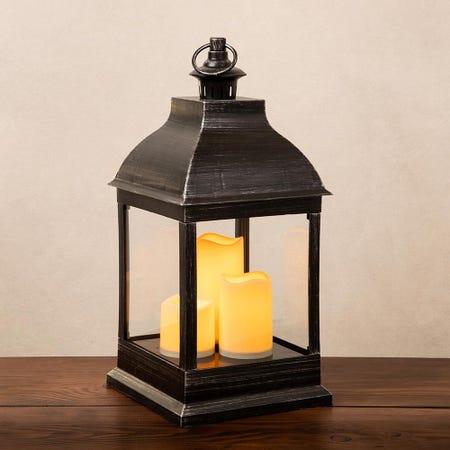 92605_KSP_Halton_'Metal_Look'_LED_Plastic_Lantern__Black