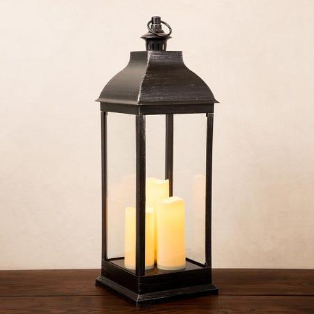 92606_KSP_Halton_'Metal_Look'_LED_Plastic_Lantern__Black