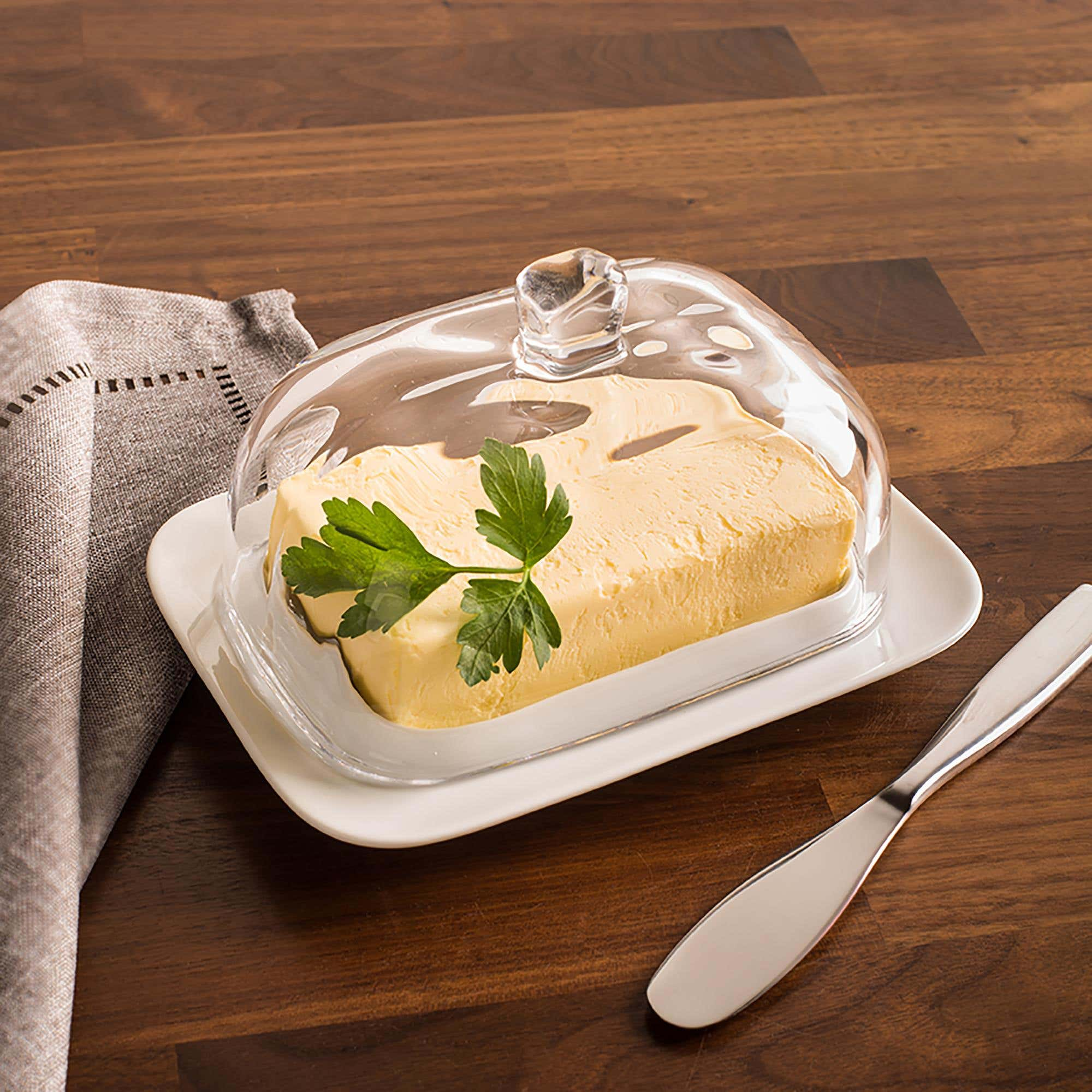 Ksp Farm House Butter Dish With Glass Lid White Clear Kitchen Stuff Plus