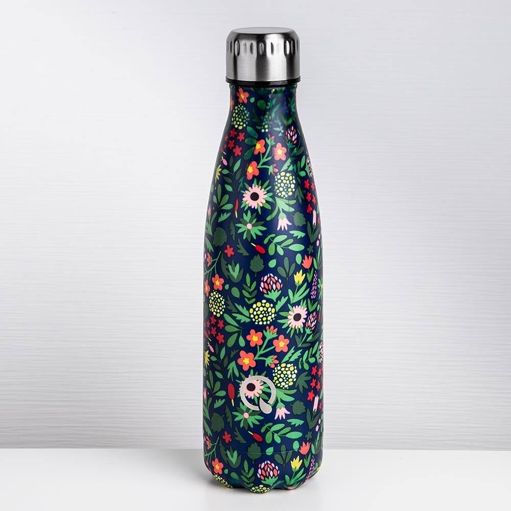 93028_KSP_Quench_'Floral'_500ml_Double_Wall_Water_Bottle__Navy