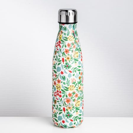 93029_KSP_Quench_'Floral'_500ml_Double_Wall_Water_Bottle__White