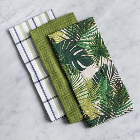 93185_Harman_Combo_'Palm_Leaf'_Cotton_Kitchen_Towel___Set_of_3__Green