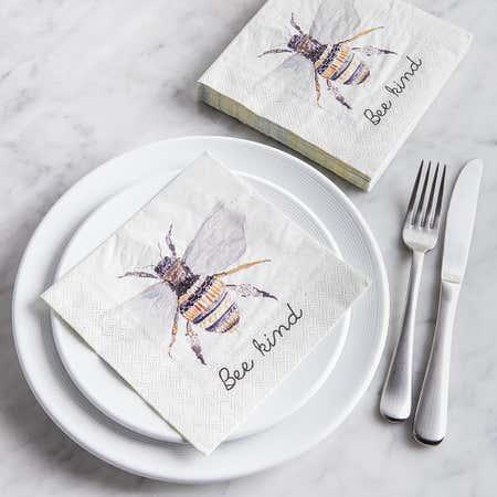 93198_Harman_3_Ply_'Bee_Kind'_Paper_Napkin__White