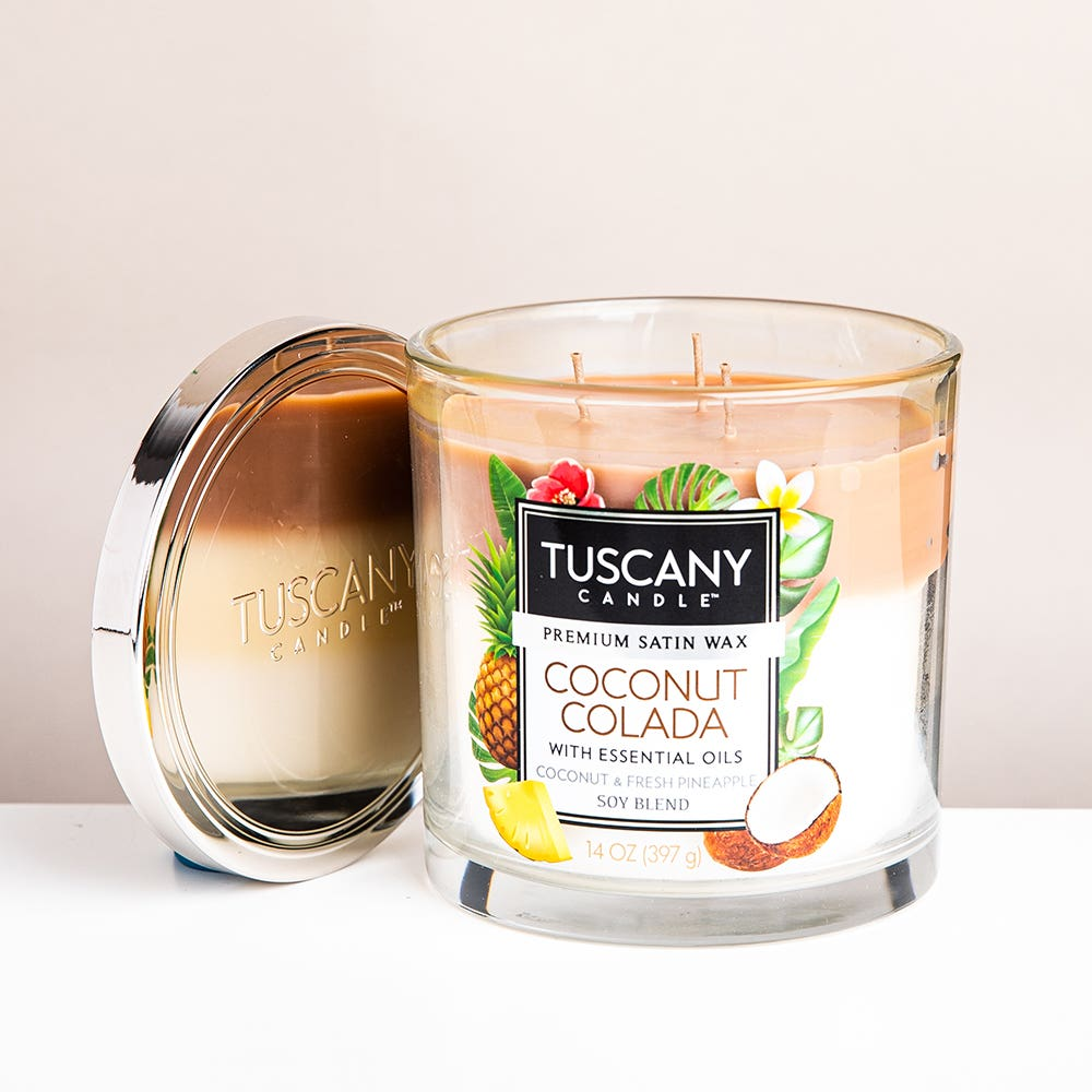 Empire Tuscany 'Coconut Colada' 3-Wick Glass Jar Candle
