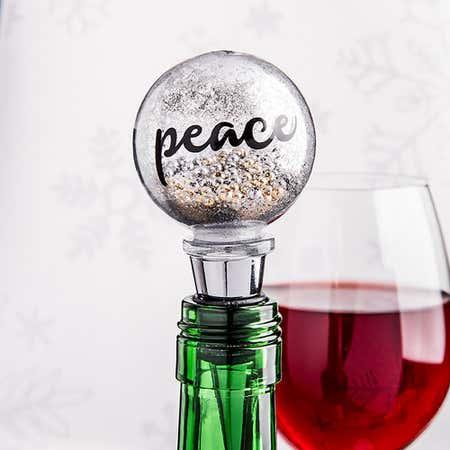 94139_KSP_Christmas_Glitter_'Peace'_Glass_Bottle_Stopper__Silver