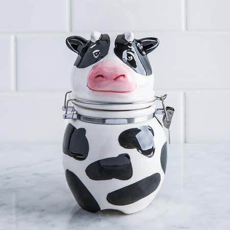 94179_Boston_Warehouse_Flea_Market_'Cow'_Ceramic_Jar__Multi_Colour
