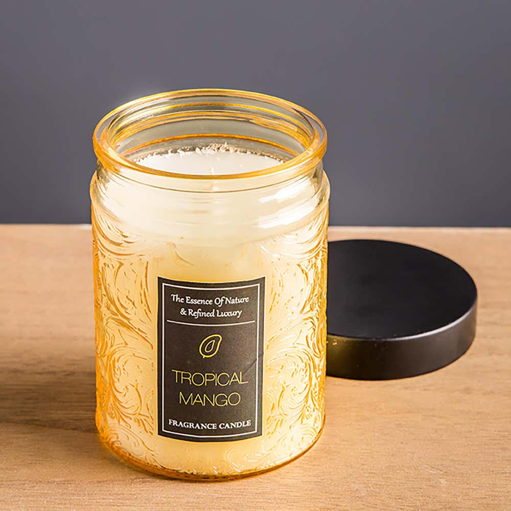 94248_KSP_Essence_'Tropical_Mango'_Filled_Jar_Candle_with_Metal_Lid__Yellow