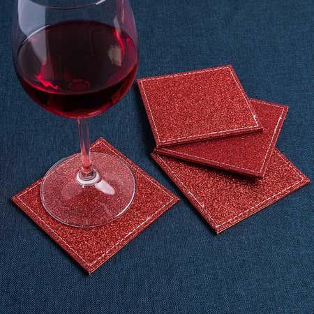 94467_KSP_Christmas_Hardboard_'Glitter'_Coaster___Set_of_4__Red