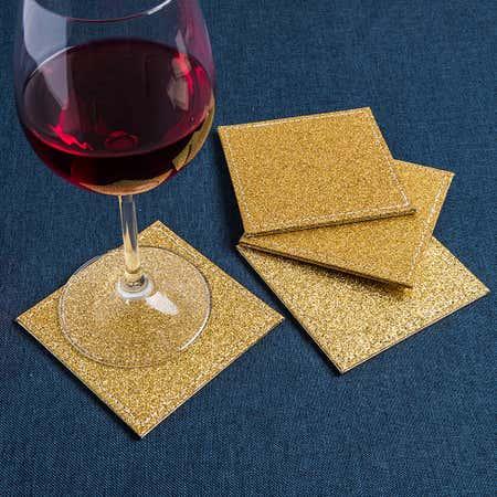 94468_KSP_Christmas_Hardboard_'Glitter'_Coaster___Set_of_4__Gold