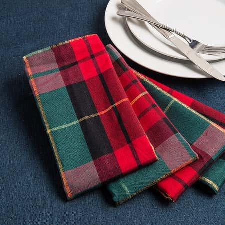 94478_Harman_Christmas_Traditional_Check_Polyester_Napkin___Set_of_4__Multi_Colour