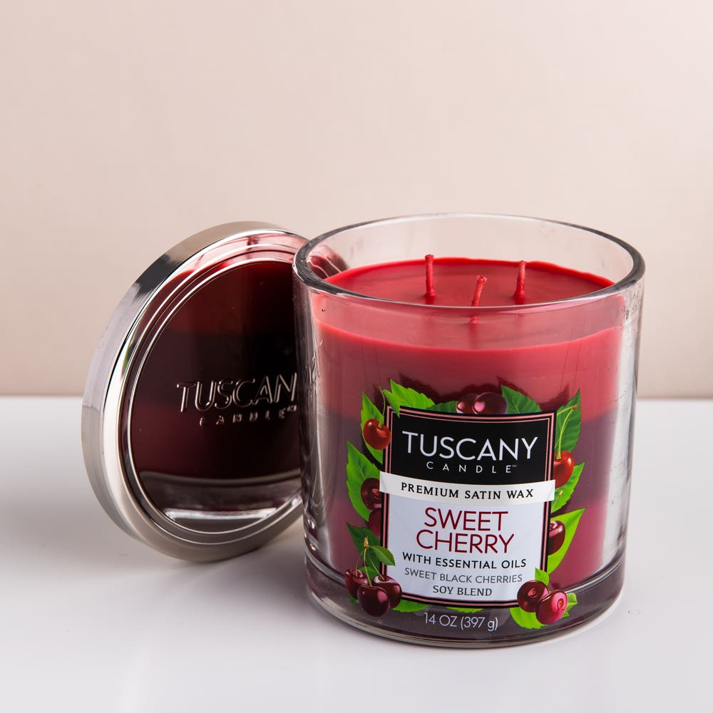 Empire Tuscany 'Sweet Cherry' 3-Wick Glass Jar Candle