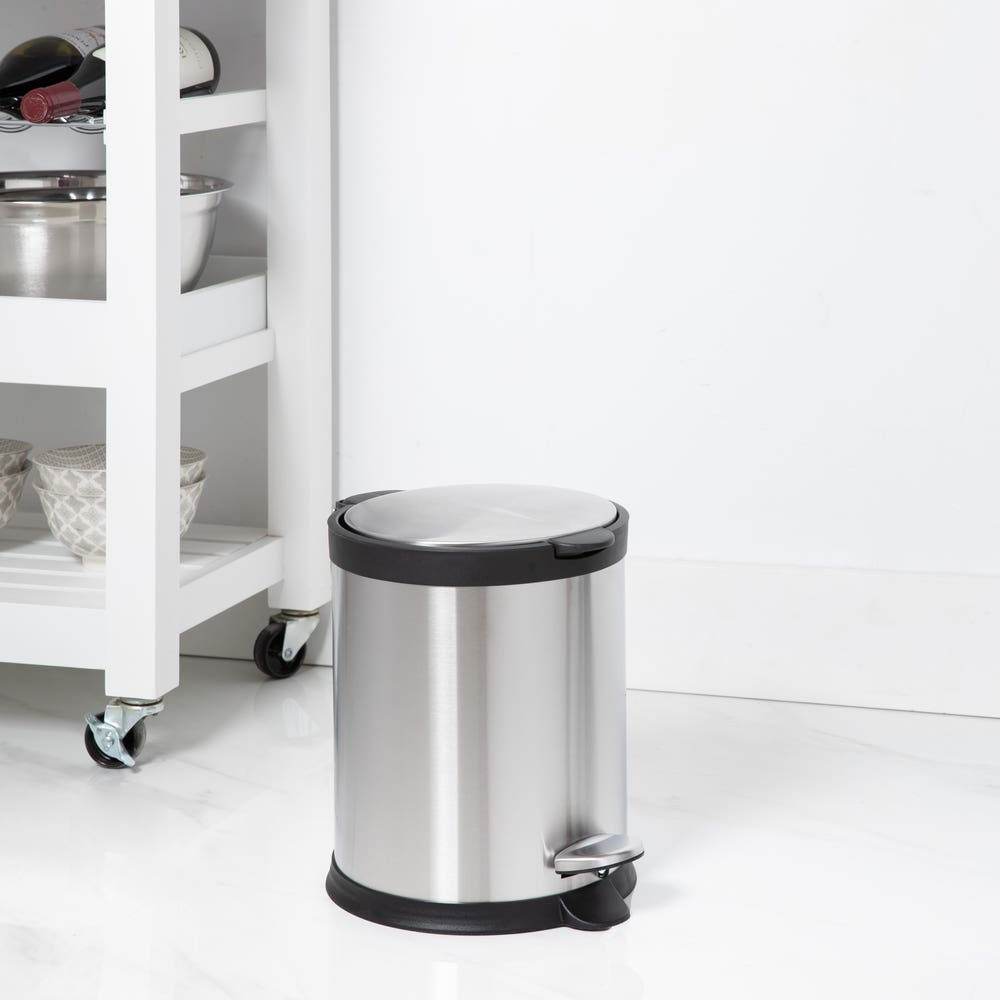 KSP Orca 5L Round Step Garbage Can (Black/Stainless Steel)