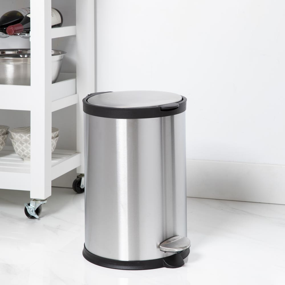 KSP Orca 12L Round Step Garbage Can (Black/Stainless Steel)