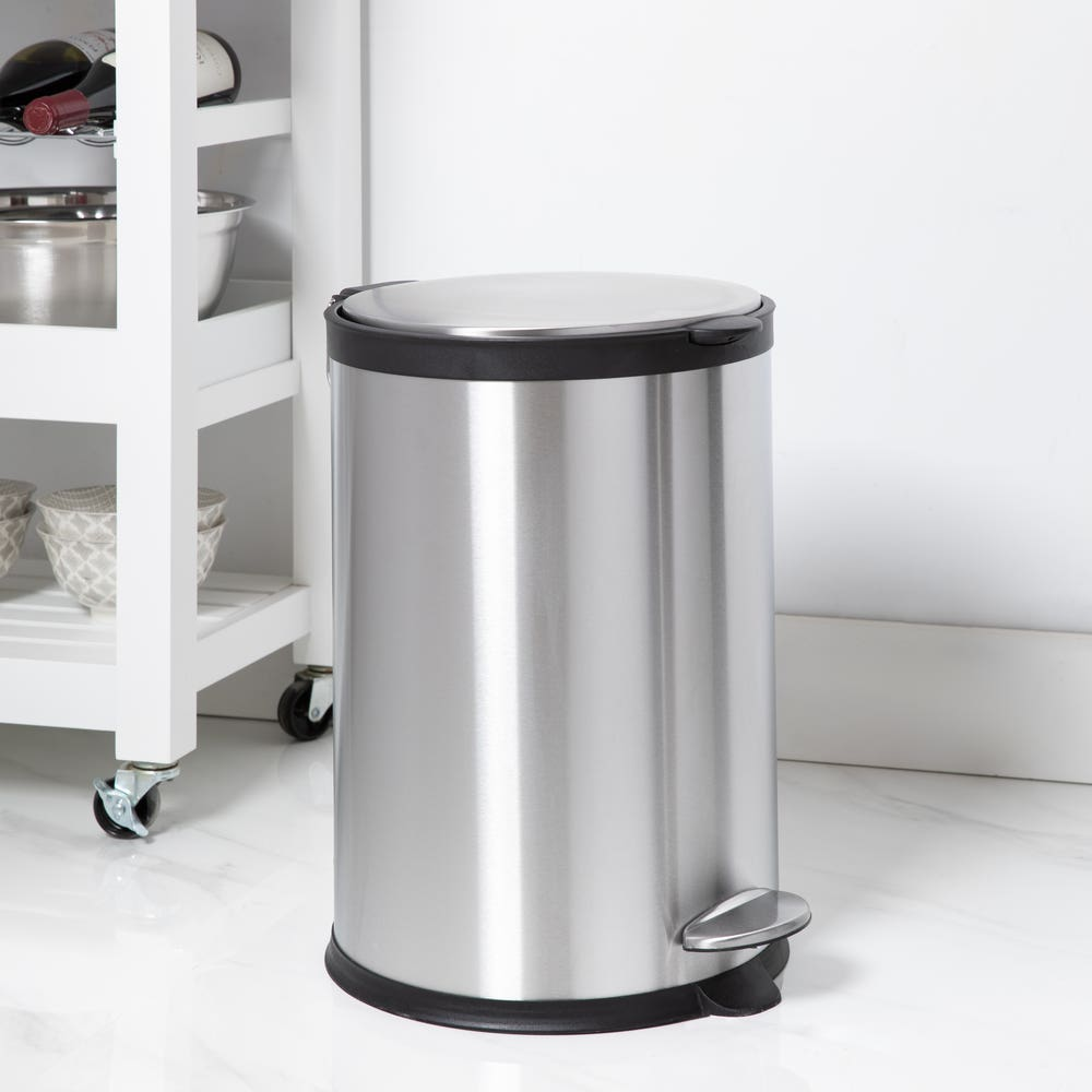 KSP Orca 20L Round Step Garbage Can (Black/Stainless Steel)
