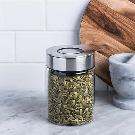 94806_KSP_Push_Lock_700ml_'Round'_Glass_and_Steel_Canister