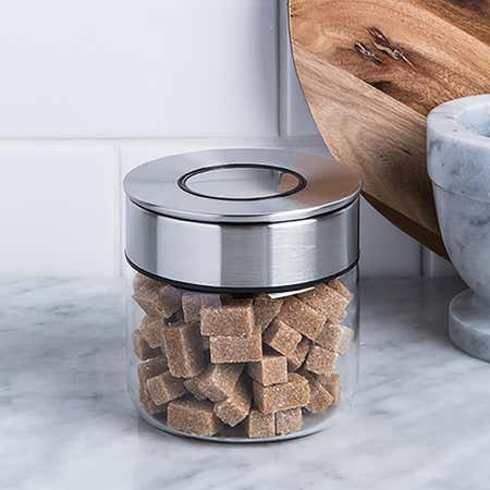 94807_KSP_Push_Lock_400ml_'Round'_Glass_and_Steel_Canister