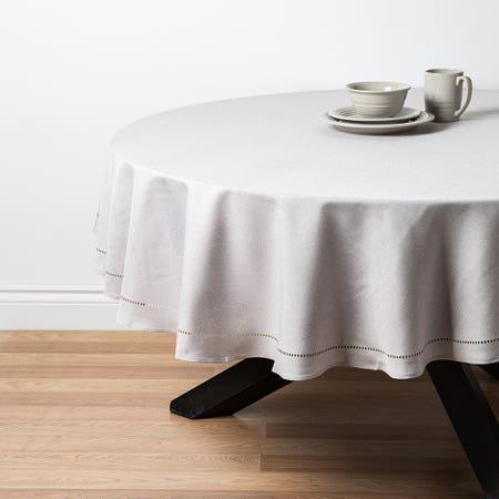 94832_Harman_Hemstitch_Polyester_70__Round_Tablecloth__Light_Grey